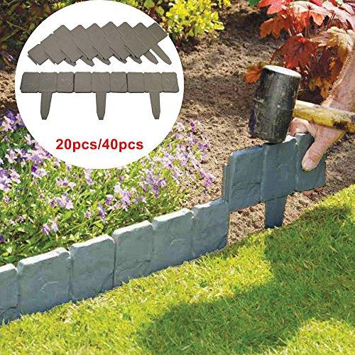 Flat Stone Edging: 20/40X Lakeland Cobbled Stone Effect Garden Edging Plastic