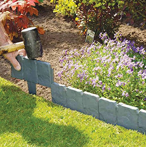 Flat Stone Edging: 20/40X Lakeland Cobbled Stone Effect Garden Edging Plastic