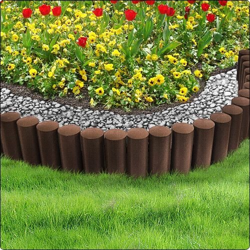 Brown 2 3m Very Strong Garden Fence Lawn Edging Boarder Edge Palisade Fencing Plastic