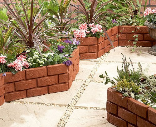 Terracotta 4 Pack Instant Brick Effect Hammer In Garden Lawn Edging Plant Border